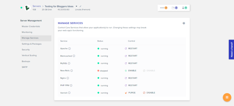 Cloudways Review- Manage Services