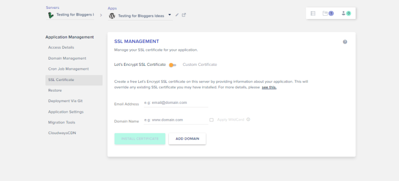 Cloudways Review- SSL Management