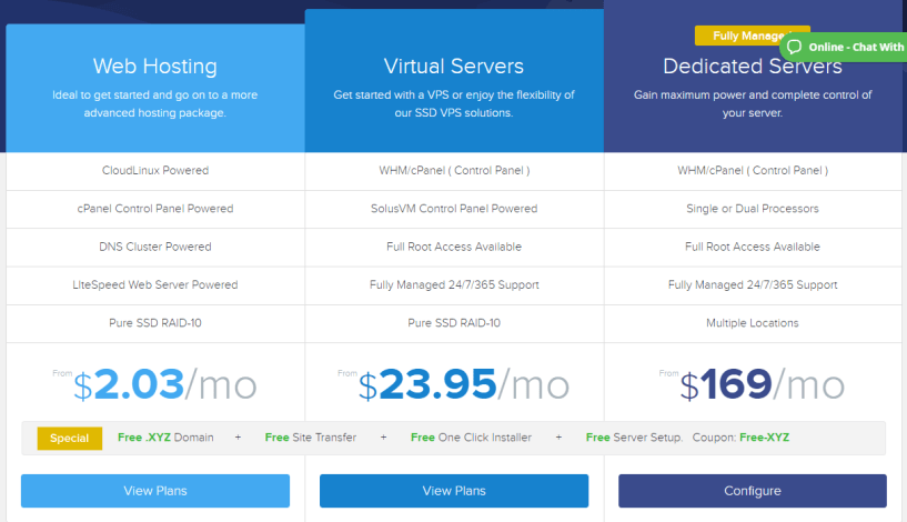 ExonHost Review- Pricing Plans