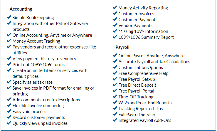 Patriot Software Features