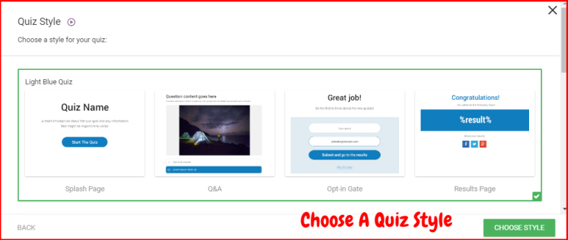 Thrive Quiz Builder Review- Choose Quiz Style