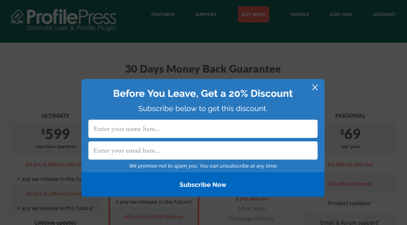 Profilepress discount coupons