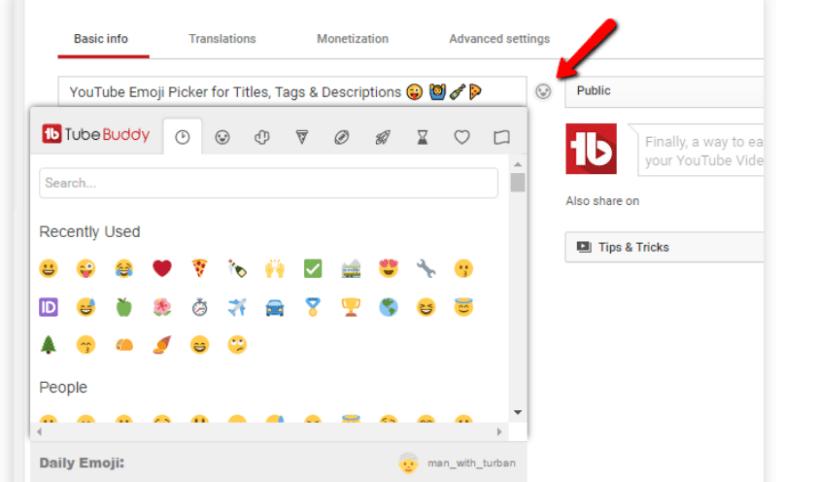 TubeBuddy Review- Emoji Picker
