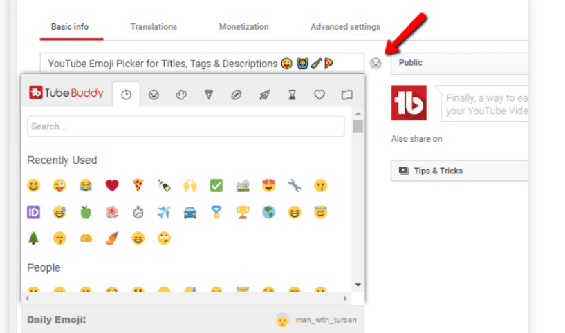 TubeBuddy Review- Emoji Picker