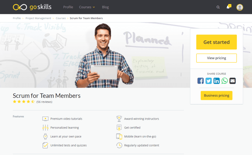 GoSkills Review With Discount Coupon- Scrum Training Online Course for Team Members