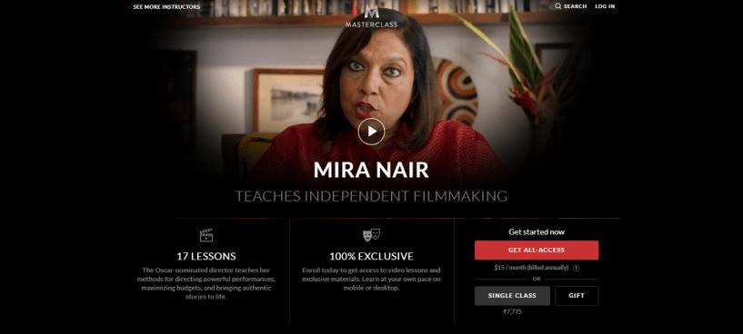 Mira Nair MasterClass Review - pricing