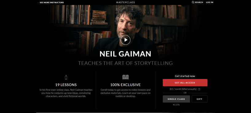 Neil Gaiman Storytelling Masterclass Review - pricing