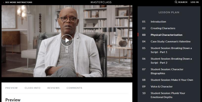Samuel Jackson Masterclass Review- modules