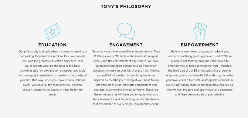 Tony Robbins Workshop Review- Tony Philosophy