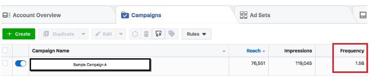 Facebook Ad - account overview