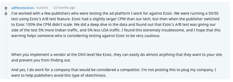 Ezoic Reddit Review