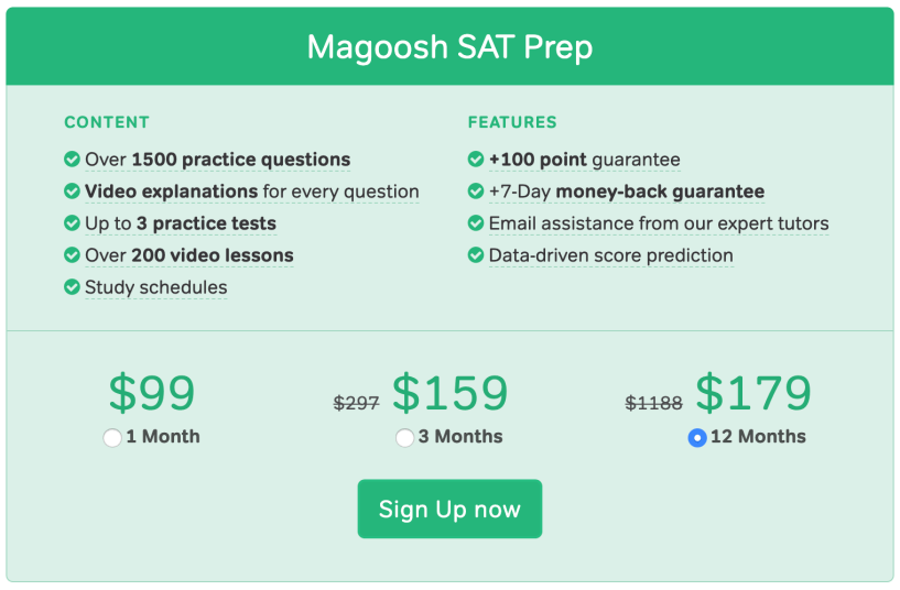 Magoosh SAT Pricing