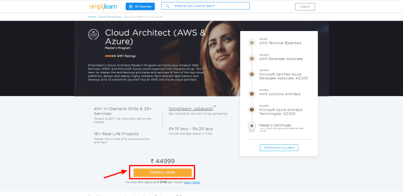 Simplilearn Review - Cloud Architect AWS Azure Masters Program Training Simplilearn