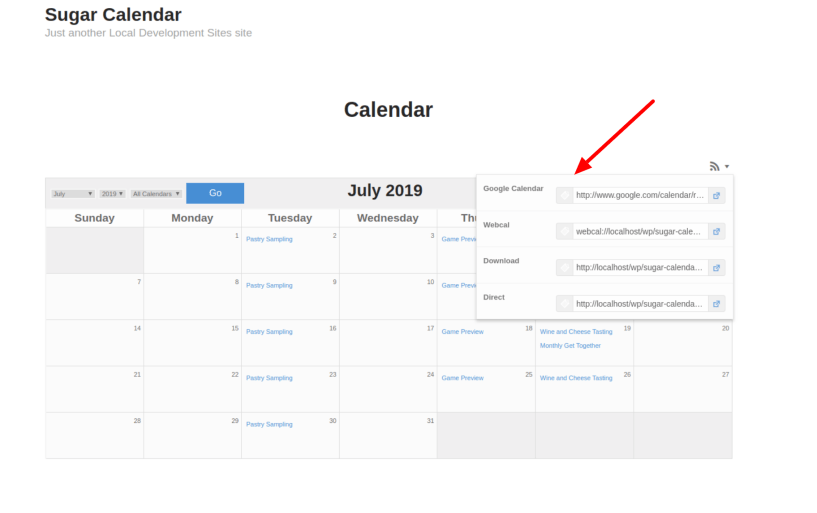 Calendar Feeds – Sugar Calendar