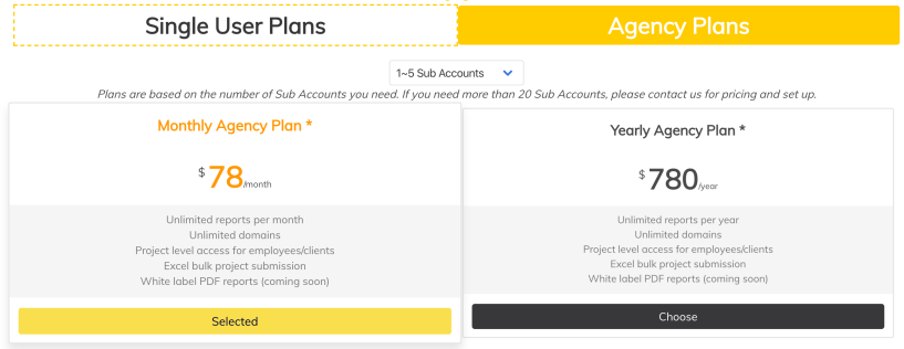 PageOptimizer Pro Agency Pricing Plans