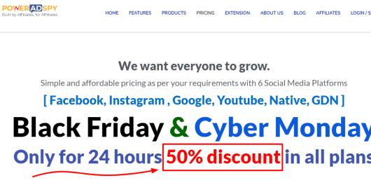 Pricing PowerAdSpy Black friday Sale