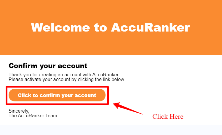 AccuRanker Review - Confirmation Link