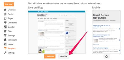 Blogger Edit Template
