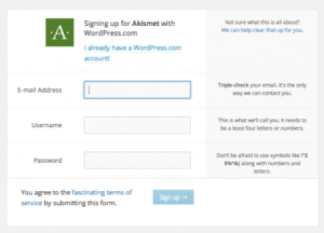 how to install wordpress plugins - akismet signup