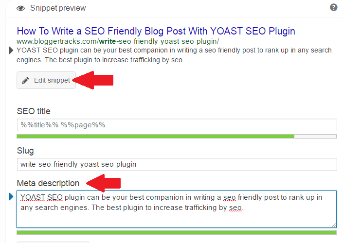 write seo friendly blog post - Slug and meta