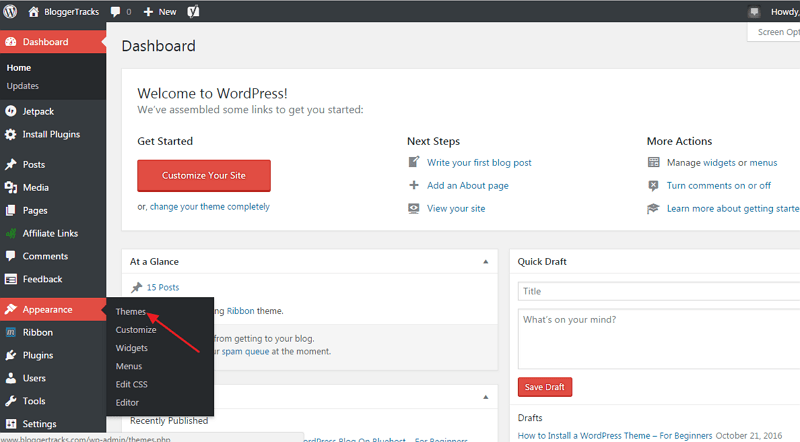 install wordpress theme - WP dashboard
