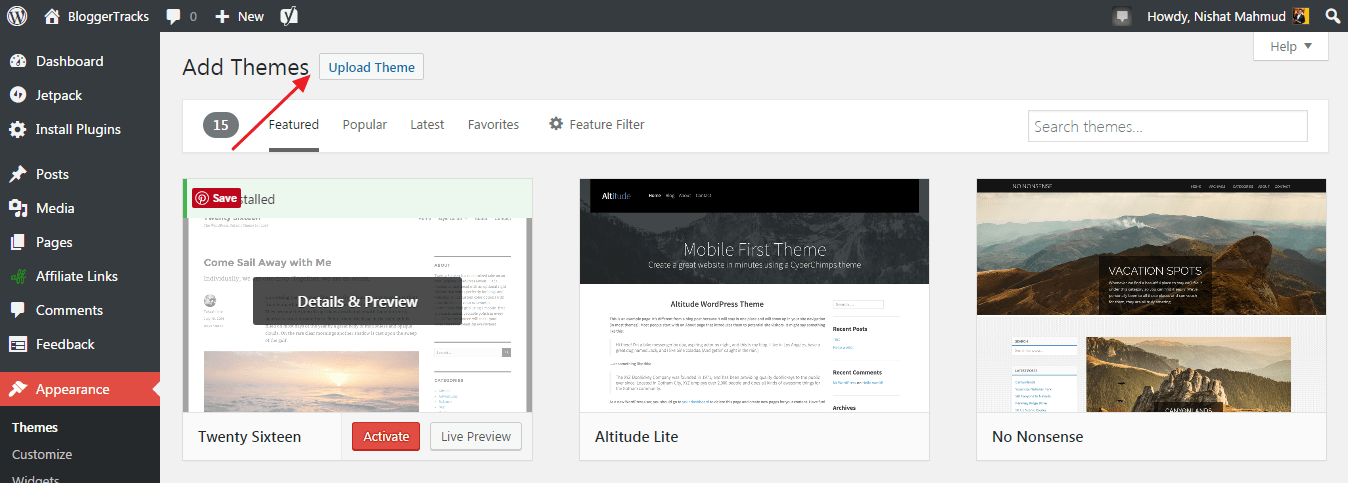 install wordpress theme - upload theme option