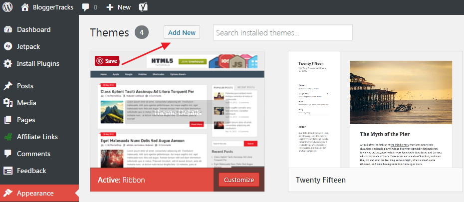 install wordpress theme - appearance add me