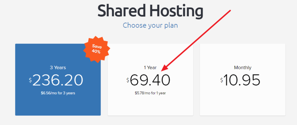 DreamHost Coupon Code - plan selection page