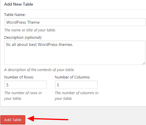 how to add table in wordpress