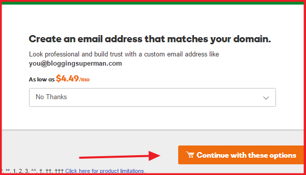 buy domain from godaddy - additional charge page