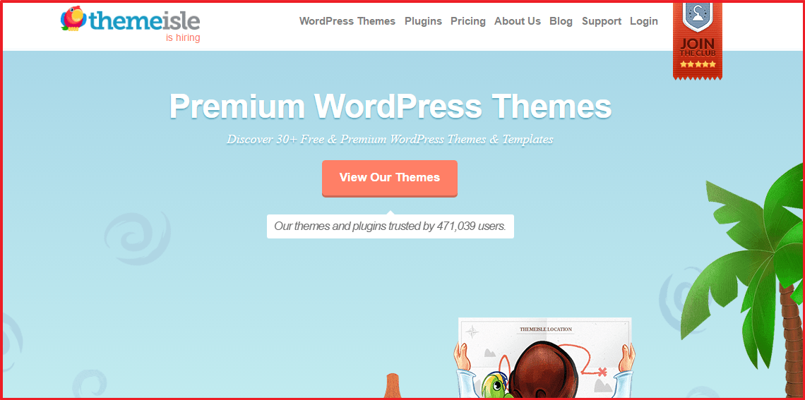 wordpess premium theme providers - themeisle homepage