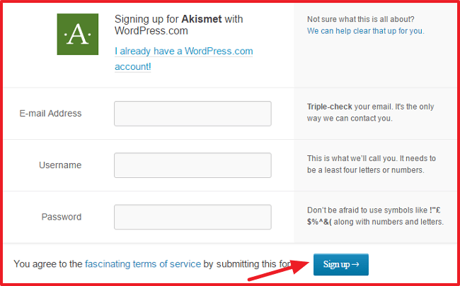 How to Install WordPress Plugins - Sign Up For Akismet