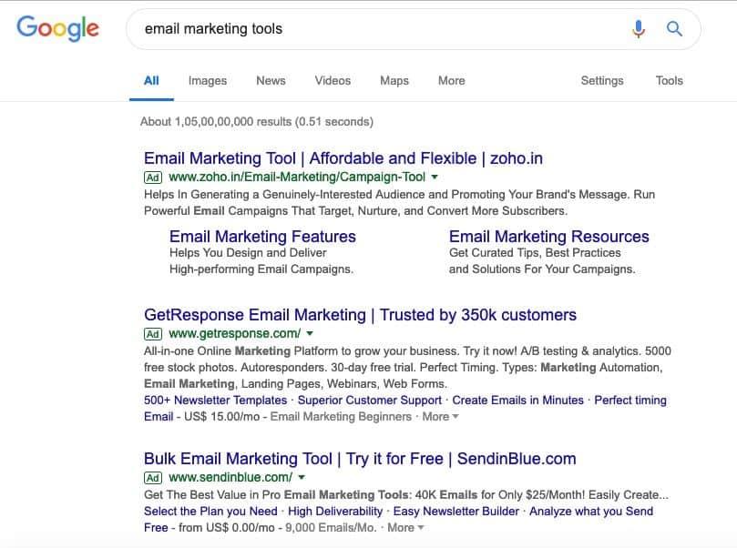 find ads keywords