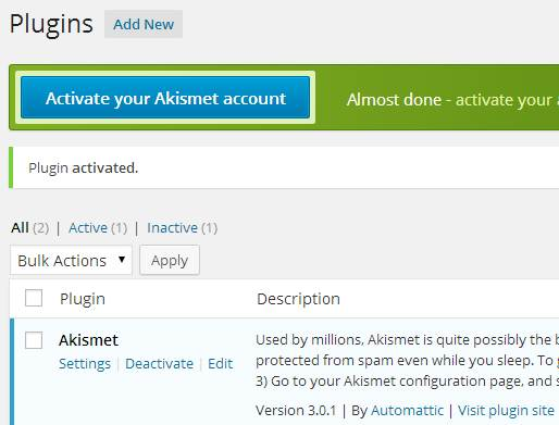 installing akismet wordpress