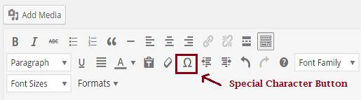 how to add special characters in WordPress