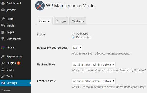 wordpress site maintenance mode