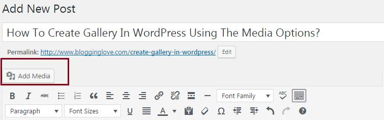 add gallery in wordpress