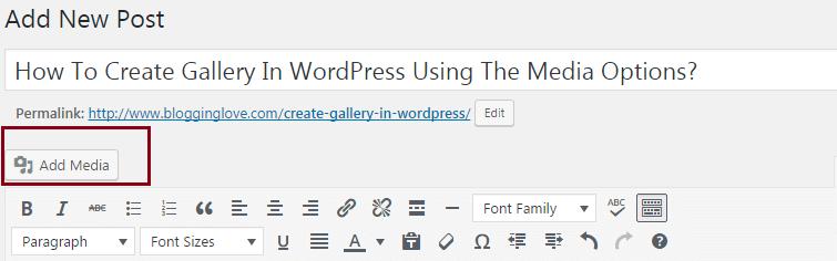add gallery in wordpress