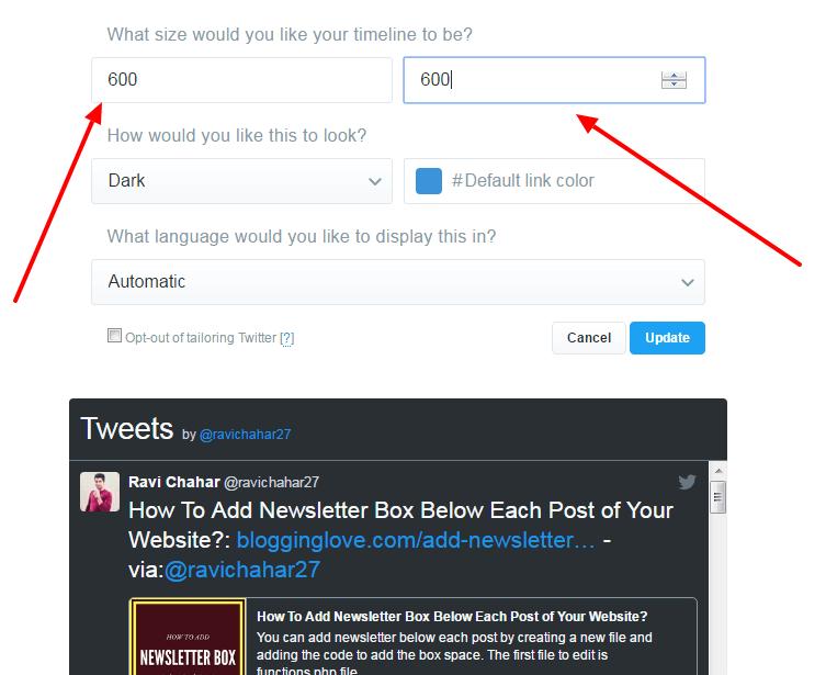 display live tweets on website