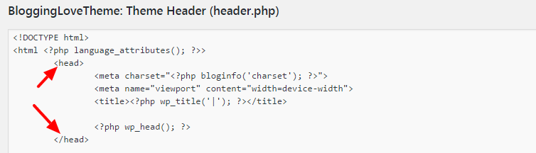 add code in header