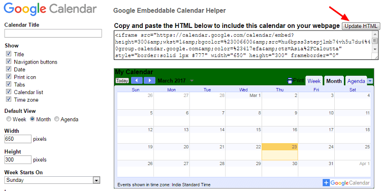 Add Google calendar in WordPress without any plugin