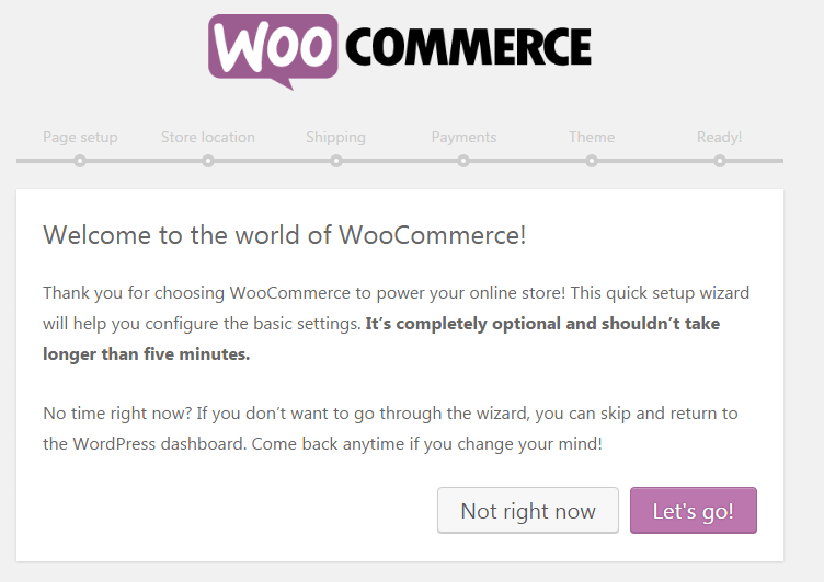 Start your online store with Woocommerce