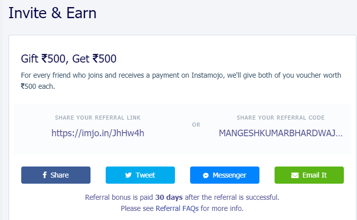 instamojo refer and earn
