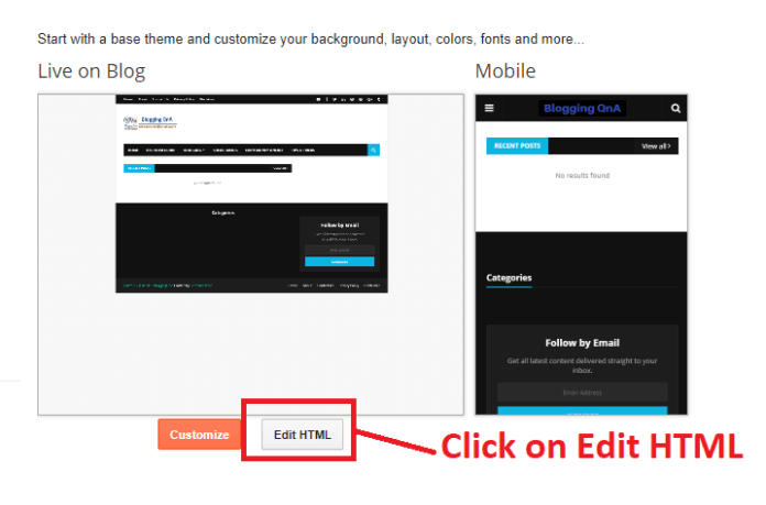 Edit Html  In Blogger