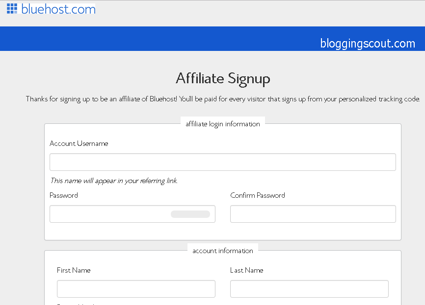 bluehost-affiliates-signup-form