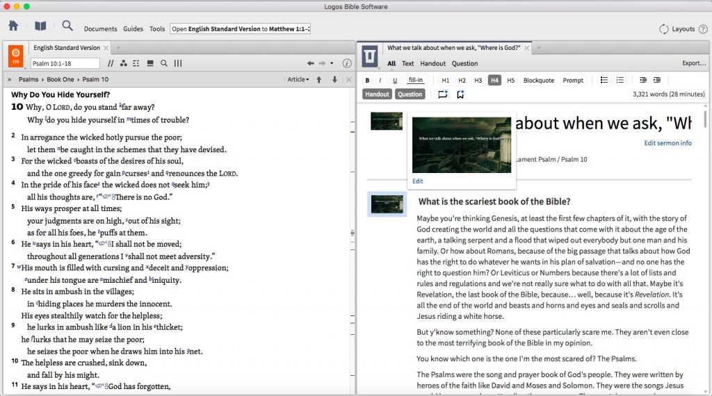Sermon editor tool in Logos 7
