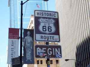 Street sign showing the start of Route 66