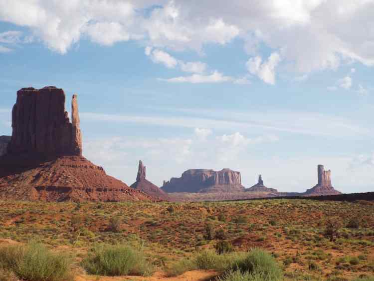 Monument valley butes and rock formation from the valley floor