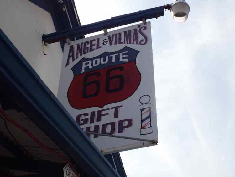 Angel Delgadillo's barber shop sign in Seligman