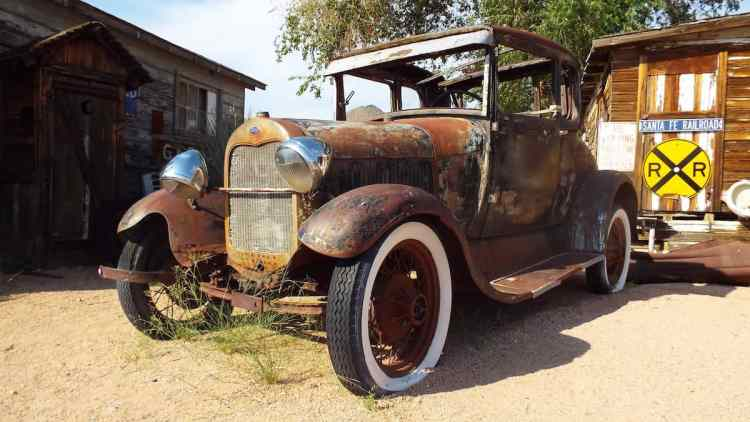 Rusty Ford Model T outside the Hackberry General Store on Route 66